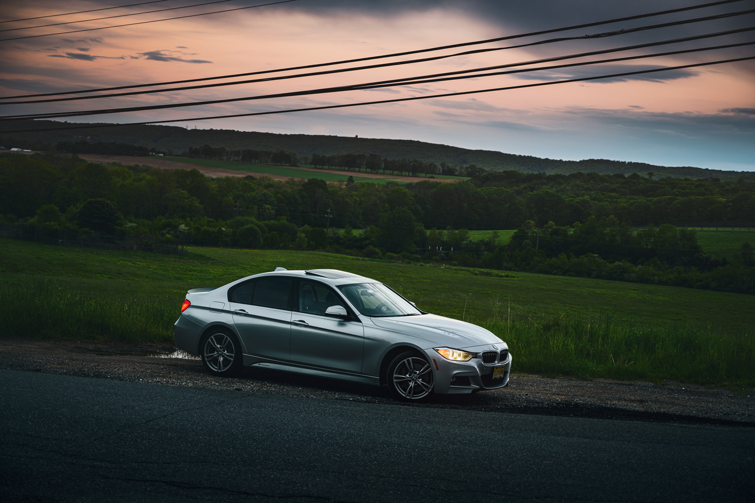 BMW 335i sunset