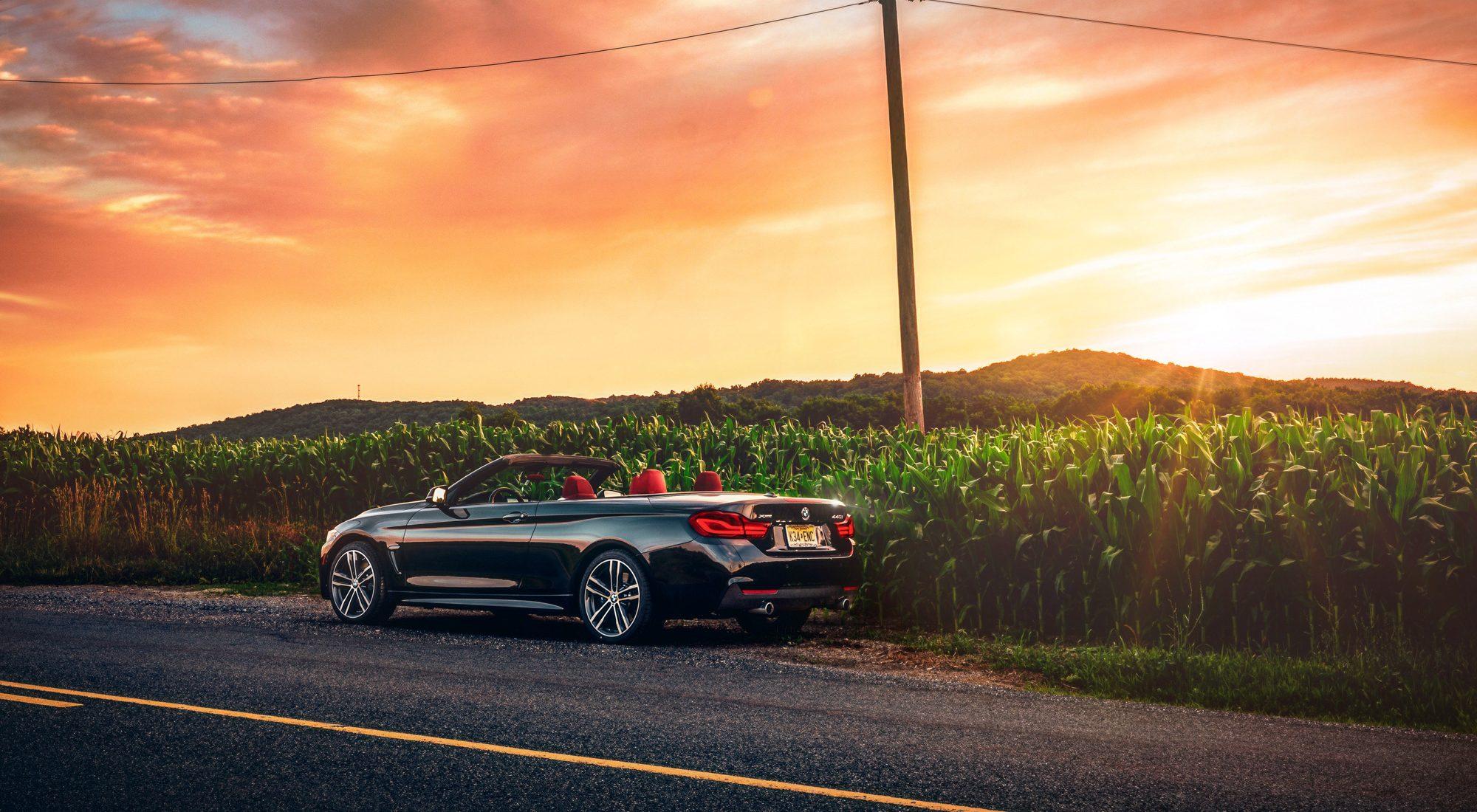 BMW 440i Convertible at sunset