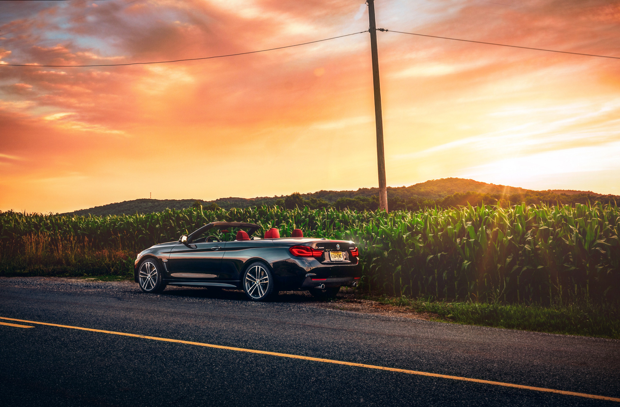 BMW 440i Convertible at sunset