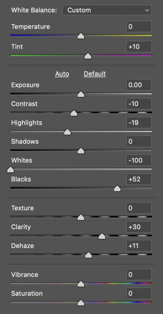 Camera Raw settings