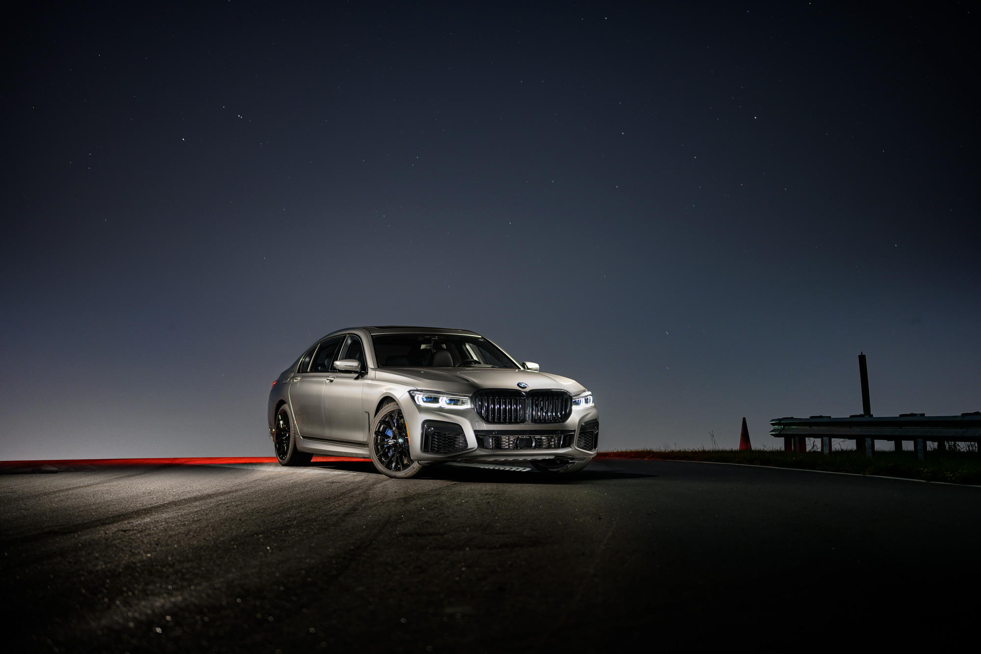 BMW M760i at night