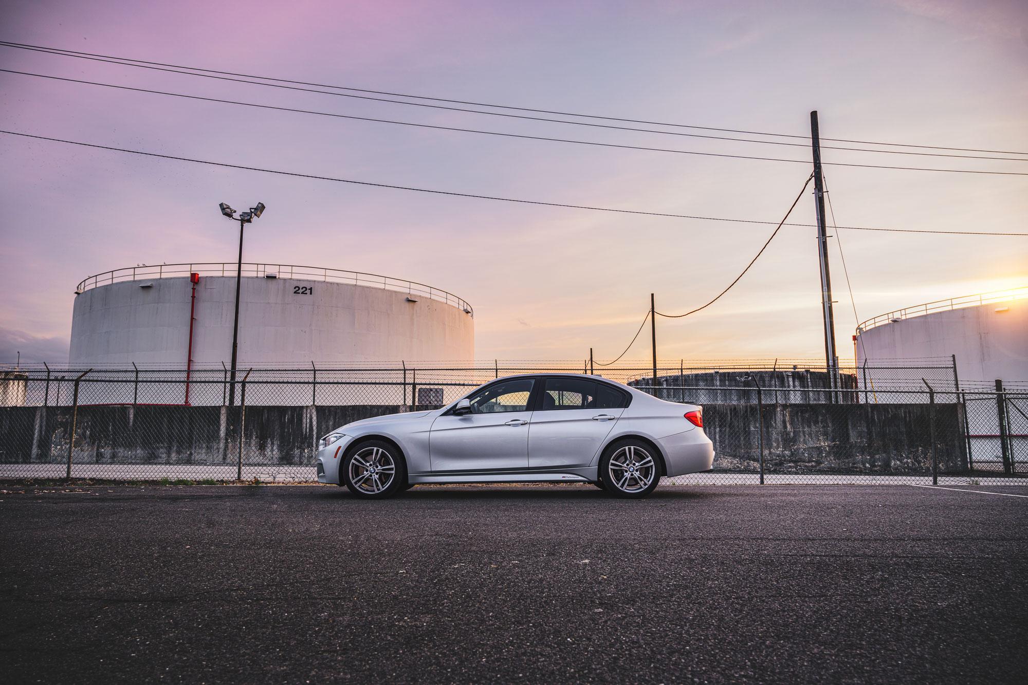 BMW 335i sunset.